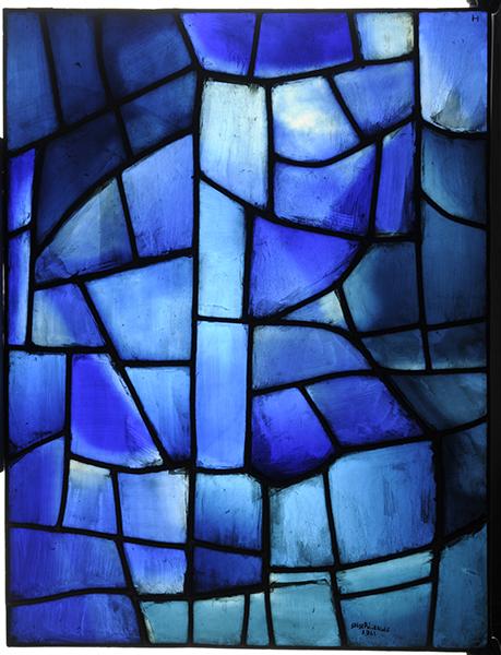 Chagall, Soulages, Benzaken… Le Vitrail contemporain : Serge Poliakoff / atelier Simon Marq. Composition bleue. 1963, vitrail panneau d'exposition. Coll. musée des Beaux-arts de Reims. © ADAGP, Paris, 2015. © Photo C. Devleeschauwer