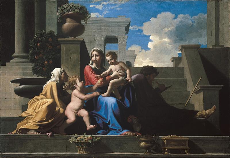Poussin et Dieu : Nicolas Poussin. La Sainte Famille à l'escalier. 1648, huile sur toile, 73 x 106 cm. Courtesy of The Cleveland Museum of Art. Inv. 1981.18. © The Cleveland Museum of Art