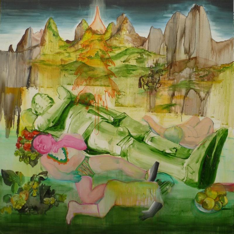 Florence Reymond & Olivier Soulerin : Florence Reymond, Le gisant, 2008, huile sur toile, 200 x 200 cm. Collection Novembre à Vitry, ville de Vitry-sur-Seine