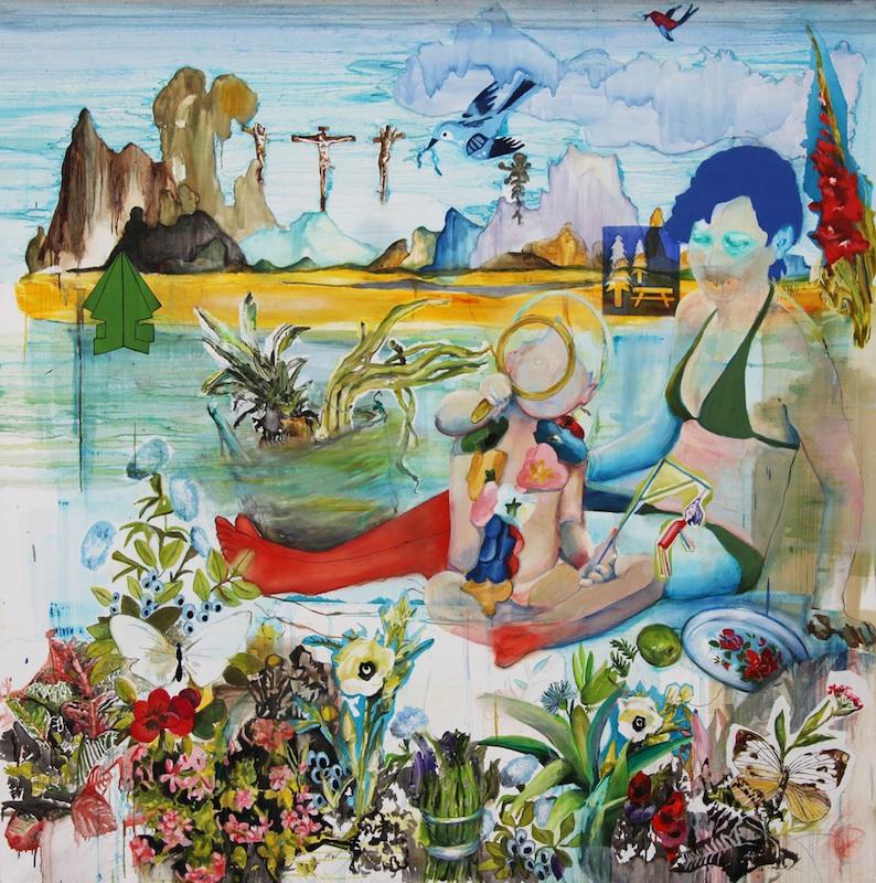 Florence Reymond & Olivier Soulerin : Florence Reymond, Après le tremblement de terre, 2010, huile sur toile, 200 X 200 cm. Collection Novembre à Vitry, ville de Vitry-sur-Seine