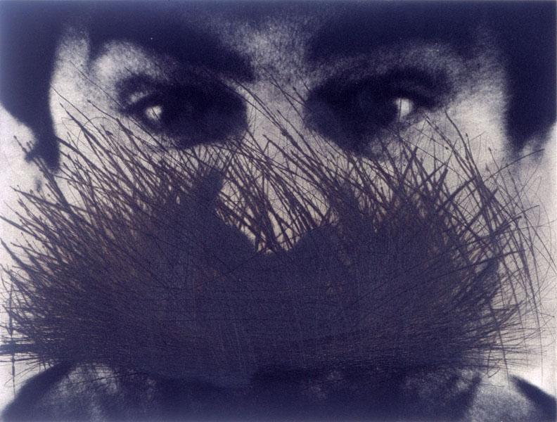 Visages : Arnulf RAINER  Autoportrait avec yeux et barbe  1987  Gravure  45,8 x 52,9 cm  Collection Les Abattoirs-FRAC Midi-Pyrénées  © Adagp, Paris, 2014. / Photo Grand Rond production.