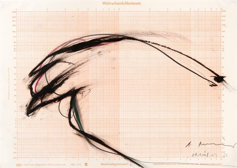 Arnulf Rainer. Œuvres sur papier. 1966 - 2010 : Arnulf Rainer Schläfer, 1967 Crayon gras, pastel et mine de plomb sur papier logarithmique. 29,8 x 42 cm
