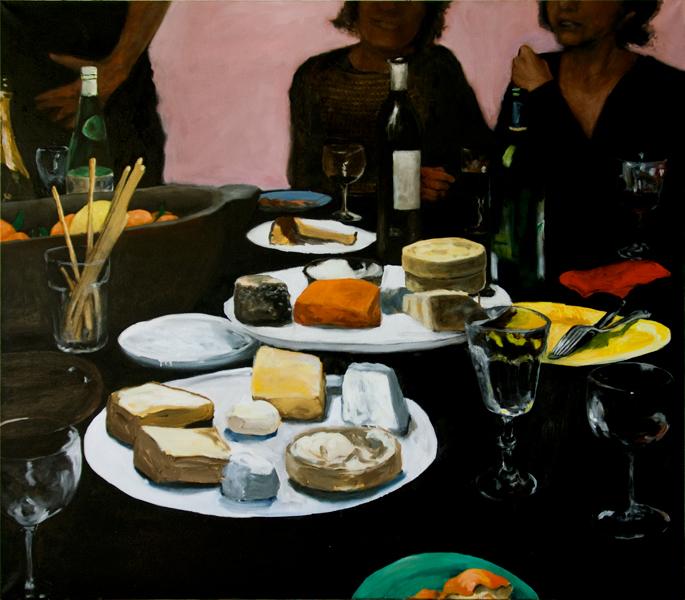 Repas, Martin Bruneau : Repas - fond rose, 2010, huile sur toile, 130 x 150 cm