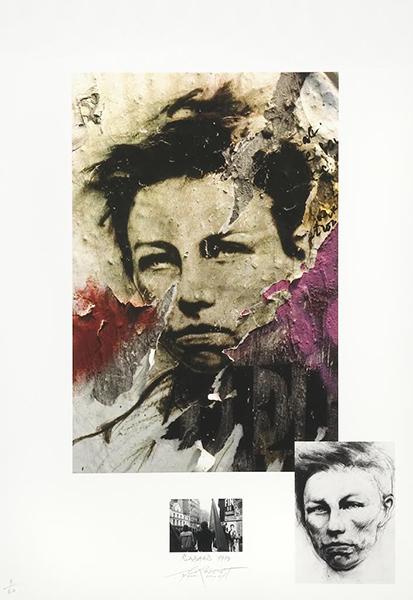 Ernest Pignon-Ernest. À la naissance du dialogue urbain : Rimbaud 3, 1978  Estampe numérique pigmentaire (2007) 28/60 ex.  79,7 x 56 cm © Galerie Lelong