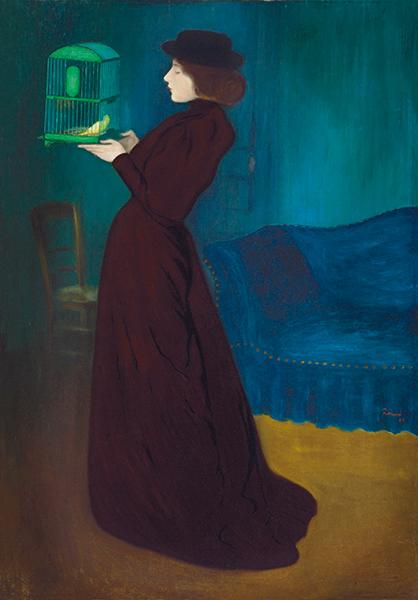 Chefs-d'œuvre de Budapest. Dürer, Greco, Tiepolo, Manet, Rippl-Rónai : József Rippl-Rónai - Femme à la cage. 1892. Huile sur toile. 185,5 x 130 cm. Budapest, Galerie nationale hongroise