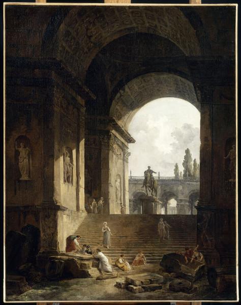 Rêveries italiennes. Watteau et les paysagistes français au XVIIIe siècle : Hubert Robert. Vue pittoresque du Capitole. Huile sur toile.