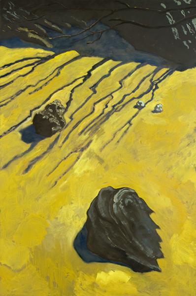 Guy de Malherbe – Obscurité/Eblouissement : Rochers, Ombres filantes,Huile sur toile, 195 x 130cm, 2011. courtesy Galerie Vieille du Temple.