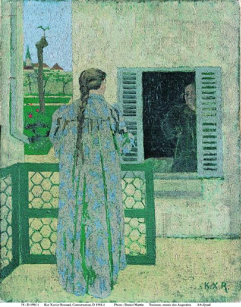 Le Postimpressionnisme et Rhône-Alpes : Ker-Xavier Roussel. Conversation. Vers 1891-1898, huile sur toile, 41 × 32 cm.