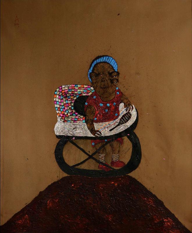 Sabhan Adam – Œuvres récentes : Sabhan Adam, Sans titre, 2013 - 180 x 160 cm - technique mixte sur toile - courtesy galerie polad-hardouin