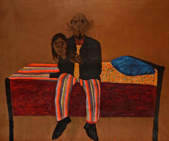 Sabhan Adam – Œuvres récentes : Sabhan Adam, Sans titre, 2013 - 160 x 180 cm - technique mixte sur toile - courtesy galerie polad-hardouin
