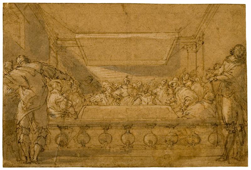 Une collection particulière : les dessins de la collection Christian et Isabelle Adrien : Scène de banquet - Le Blanc