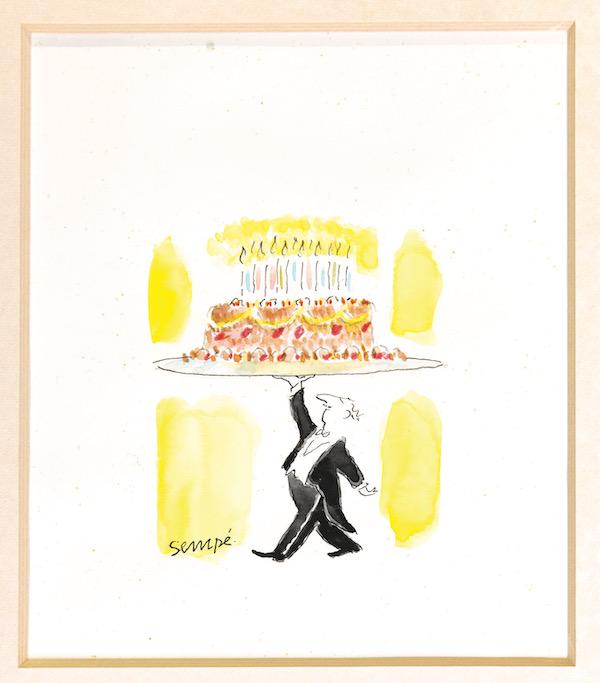 A la pointe de l'art : Sempé, Anniversaire, maquette du timbre-poste, aquarelle sur papier, 2004. Coll. Musée de La Poste