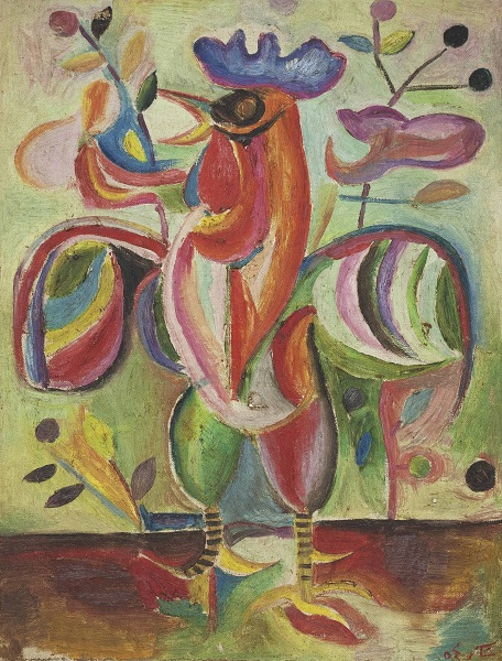 La Collection Barjeel. 100 chefs d'oeuvre de l'art moderne et contemporain arabe : Shakir Hassan Al Said, Al Deel al Faseeh (The Articulate Cockerel), 1954, huile sur toile, 60 x 44 cm