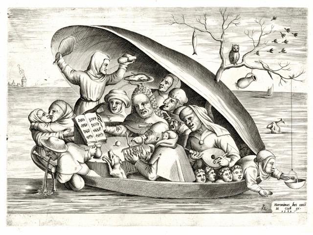 Bruegel - L'Image imprimée au temps de Bruegel (1500-1585) : Shell - Anonymous in the manner of Bosch, engraved by Pieter Van der Heyden. Musicians in a mussel shell. Hieronymus Cock © KBR, Koninklijke Bibliotheek van Belgie