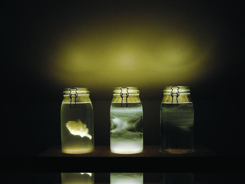 Nuage : Charlotte Charbonnel, AND, aperçu de nuage, 2006; Coll. de l'artiste. Photo : F. Halna © C. Charbonnel Verre, eau distillée, alcool, lait – dimensions variables
