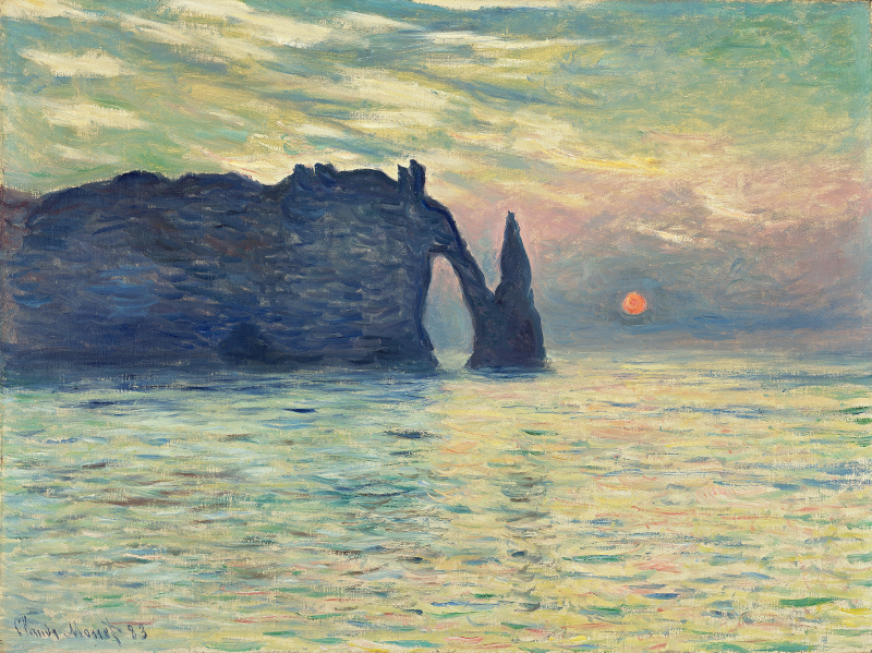 Éblouissants reflets : Claude Monet Etretat, soleil couchant 1882-1883 Huile sur toile ; 60,5 x 81,8 cm Raleigh, North Carolina Museum of Art, purchased with funds from the State of North Carolina, 67.24.1 © North Carolina Museum of Art