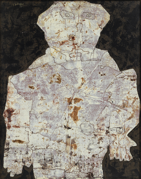 Chaissac-Dubuffet – Entre plume et pinceau : Le Géographié, 14 septembre 1955, huile sur toile, 92 x 73 cm, galerie Karsten Greve, Saint-Moritz