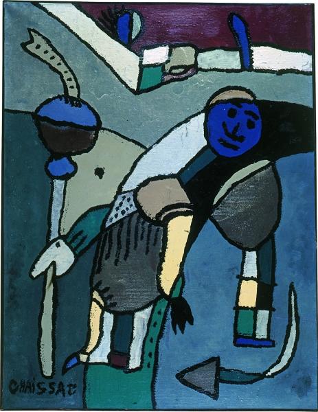 Chaissac-Dubuffet – Entre plume et pinceau : Le Pèlerin, 1947, huile sur papier, 65 x 50 cm, collection J.D.J., Paris