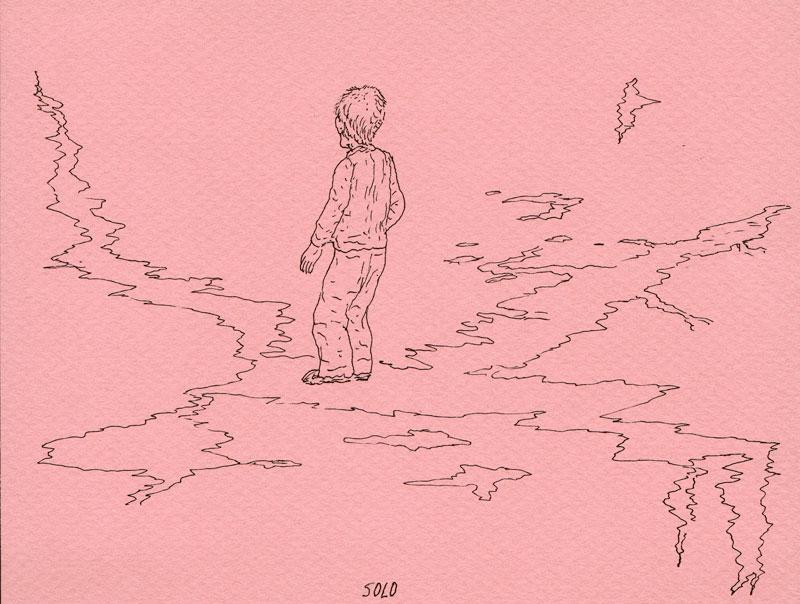 Álvaro Oyarzún – dessins : Solo, 2009, rotring sur papier, 12,5 x 16 cm - courtesy Galerie Catherine Putman