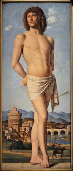 Cima da Conegliano. Maître de la Renaissance vénitienne. : Saint-Sébastien. 1500-1502, huile sur bois, 116,5 x 47 cm.  Musée des Beaux-Arts, Strasbourg.