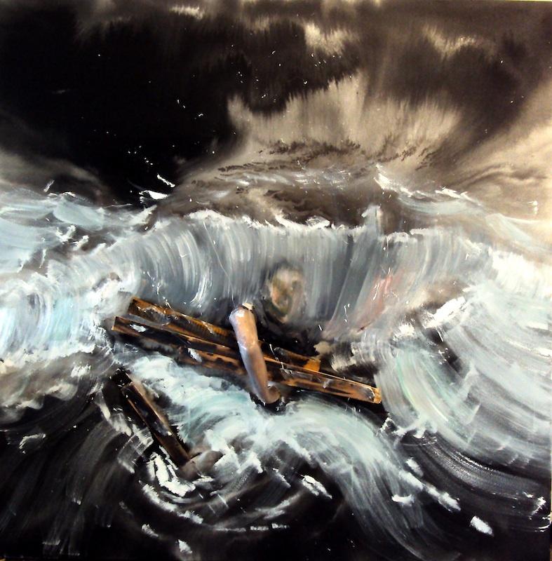 Stéphane Pencréac'h - Tempestad : Le naufrage, 2011, technique mixte et huile sur toile, 200 x 200 cm.