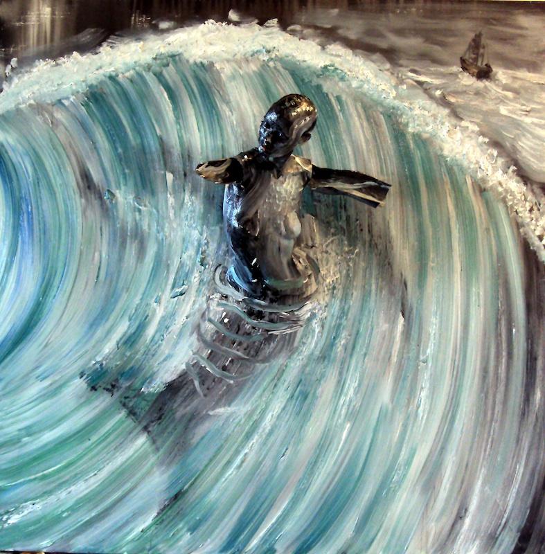 Stéphane Pencréac'h - Tempestad : La Sirene, 2011, technique mixte et huile sur toile, 200 x 200 cm.