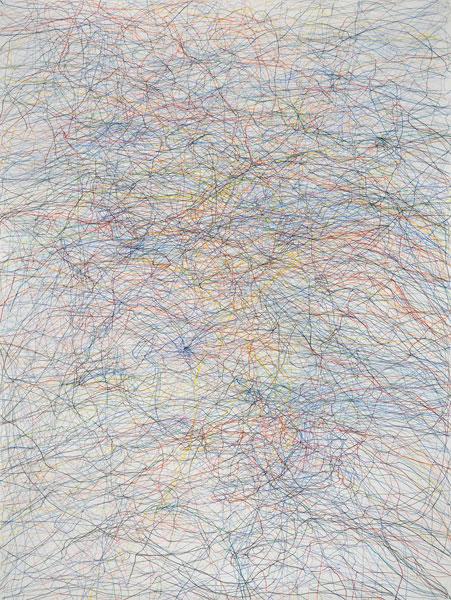 Gilgian Gelzer - Streaming : Gilgian Gelzer, sans titre, 2011, crayons de couleur sur papier, 200 x 150 cm, Courtesy galerie Jean Fournier, crédit photographique Laurent Ardhuin