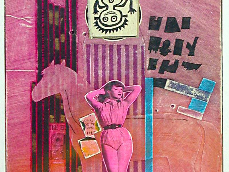 Le Surréalisme dans l'art américain : Ray Johnson Movie Star with Horse 1958 collage sur papier 41,9 x 34,3 cm New York, Collection Frances Beatty and Allen Adler © Adagp, Paris, 2021 © Ray Johnson Estate, courtesy of Frances Beatty & Allen Adler