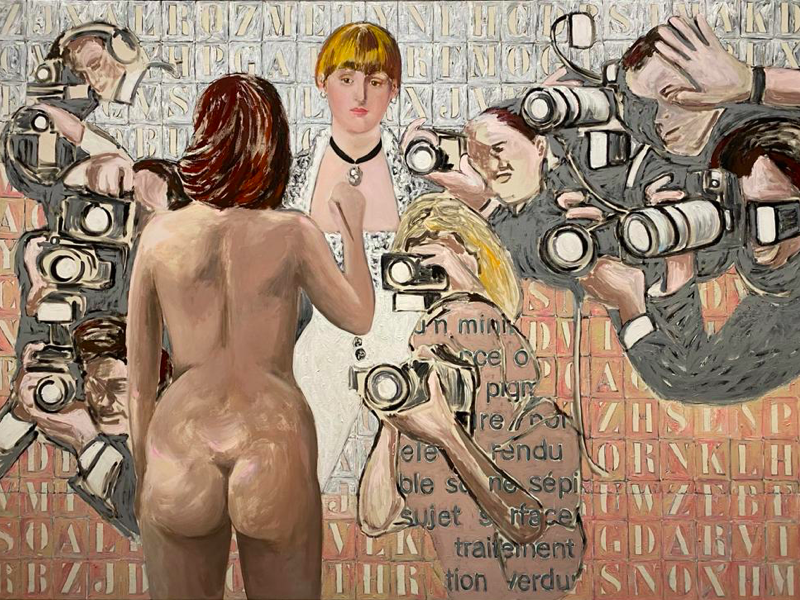 Agnès Thurnauer - Rrose c'est la life : Agnès Thurnauer. Exécution de la peinture. 2013, acrylique sur toile, 200 × 280 cm. Courtesy de l'artiste et galerie Michel Rein, Paris.