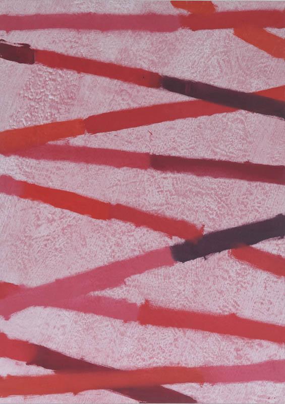 Jean-François Maurige. Tableaux 2007-2010 : Jean François Maurige, sans titre, 2010, huile et acrylique sur toile rouge, 136 x 97 cm, courtesy galerie Jean Fournier, crédit photographique : Laurent Ardhuin.