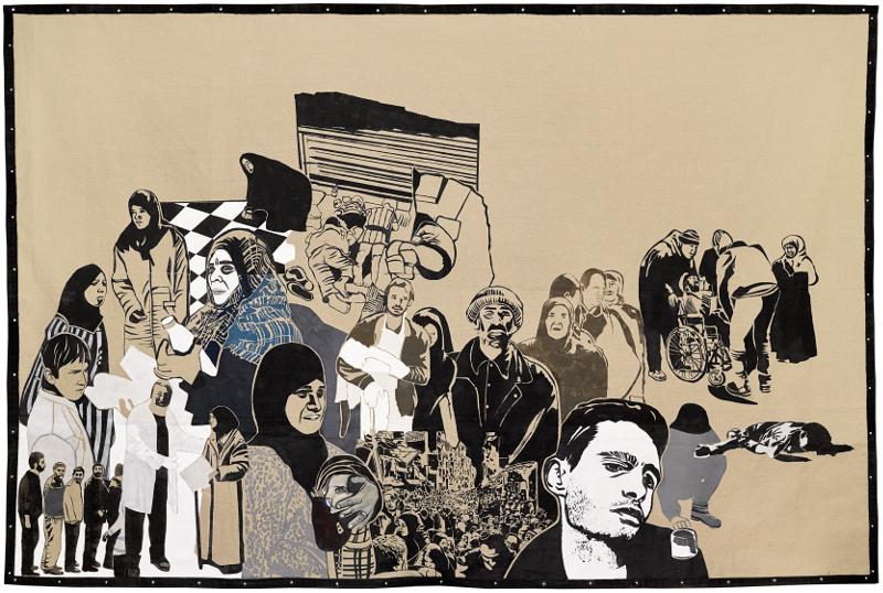 Khaled Takreti. Les Femmes et la Guerre : Khaled Takreti. Les Réfugiés. 2016, technique mixte sur toile brute suspendue, 250 x 400 cm. Courtesy de l'artiste et galerie Claude Lemand, Paris.