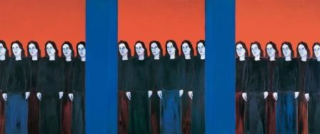 E-motion - collection Bernard Massini : Djamel Tatah, Sans titre, 2003, Huile et cire sur toile, 3 panneaux de 250 x 200 cm. Photo Karin Maucotel / paris- musées © Djamel Tatah, Adagp Paris 2012 ou 2013