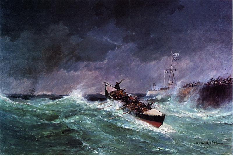 Tempêtes, naufrages et sauvetages en mer 1850-1900 : G. Roullet, Rentree d'un bateau de sauvetage au Havre. Credit photographique : Collection Musée d'Art et d'Histoire © Ville de Rochefort