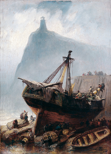 Tempêtes, naufrages et sauvetages en mer 1850-1900 : E.Isabey, L'epave. Credit photographique : Honfleur, Musee E.Boudin © Musee-H.Brauner
