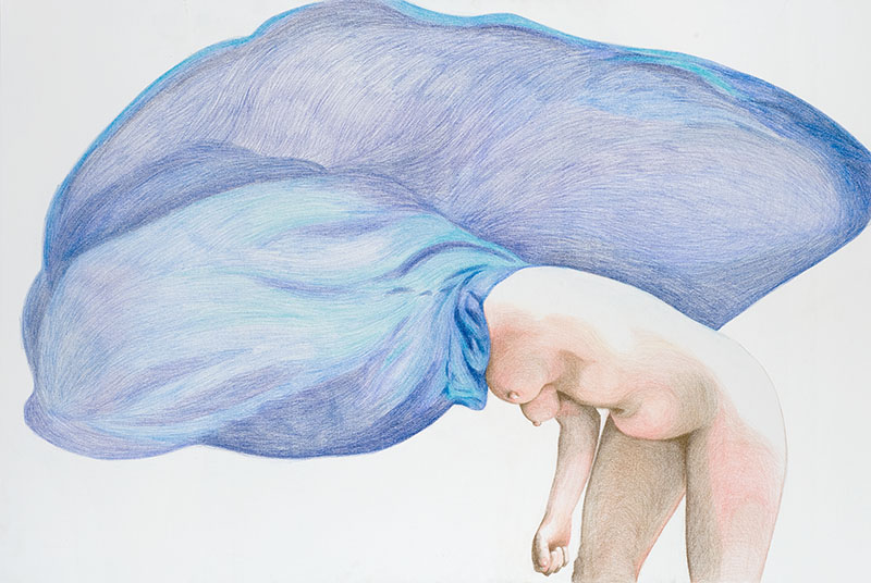 Agnès Thurnauer. Studio as performance : Agnès Thurnauer. Autoportrait [into abstraction] #3. 2015, crayon sur toile, 195 x 130 cm
