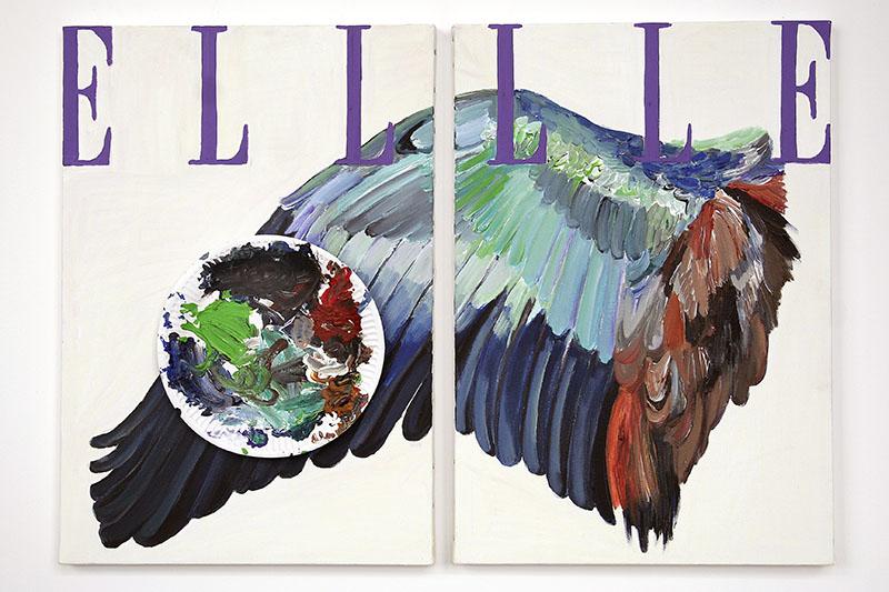 Agnès Thurnauer. Studio as performance : Agnès Thurnauer. Prédelle [Rainbow Elbow]. 2008, acrylique et carton sur toile, 55 x 33 cm [x2]