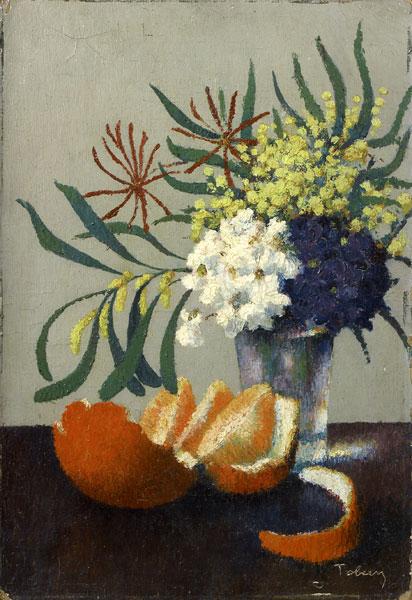 Tobeen – Un poète du Cubisme : Tobeen, Bouquet au mimosa avec une orange , 1921, Huile sur toile, Collection particulière (c) Fondation Tobeen