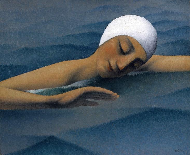 Tobeen – Un poète du Cubisme : Tobeen, La Nageuse, non daté, 46 x 55, Huile sur toile, Collection particulière (c) Fondation Tobeen
