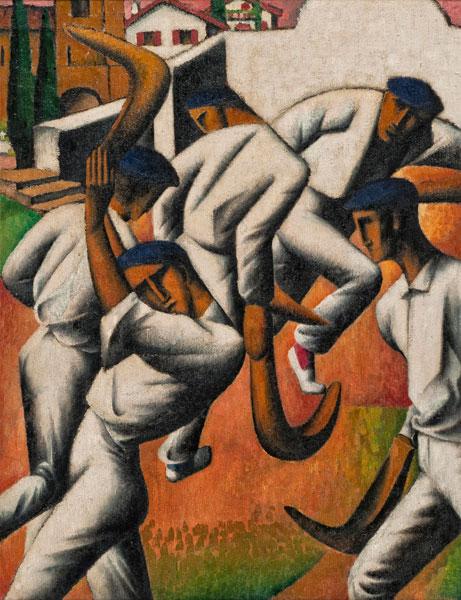 Tobeen – Un poète du Cubisme :  Tobeen, Les Pelotaris, 1912,  65 x 50,5,  Huile sur toile, Collection particulière (c) Fondation Tobeen