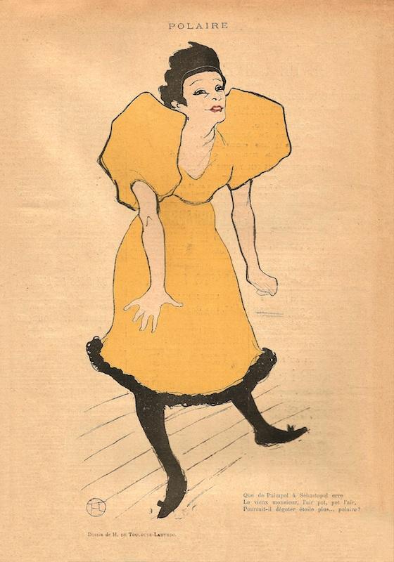 Collection Weisman & Michel. Fin de siècle – Belle Époque (1880-1916). : Henri de Toulouse Lautrec, Polaire, photographie en relief dans Le Rire 23 février 1895 31,4 × 23,3 cm Photographie © Phillip Dennis Cate