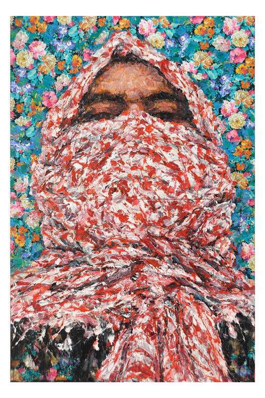 Traits d'Union - Paris et l'art contemporain arabe : Ayman Baalbaki, Al Moulatham, 2010 Acrylique sur Ussu imprimé et toile, 200 x 150 cm Courtesy Agial Art Gallery