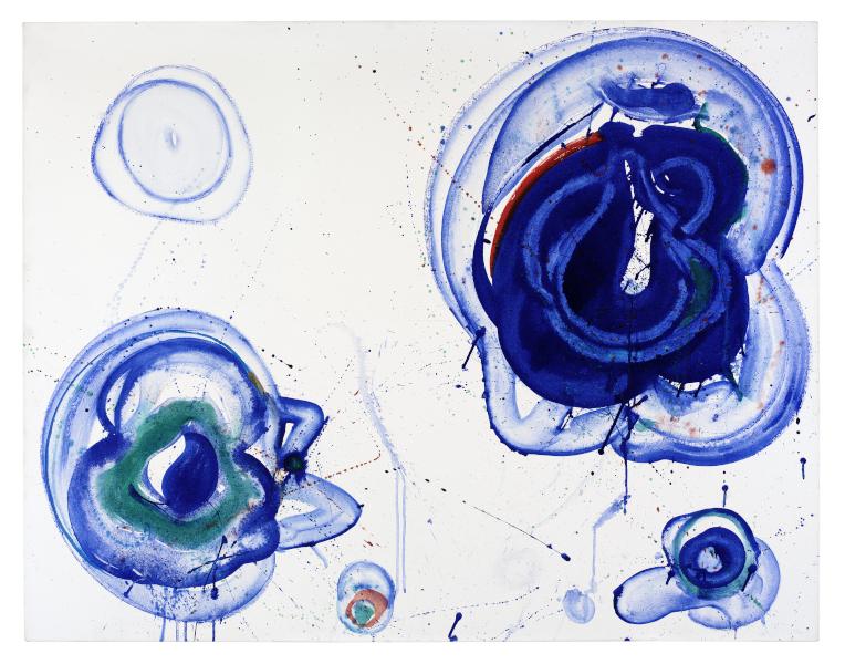 United States of Abstraction. Artistes américains en France, 1946-1964 : Sam Francis, Blue Balls, vers 1961-1962, huile sur toile, 106,9 x 137,5 cm, Stockholm, Moderna Museet © 2020 Sam Francis Foundation, California / ADAGP, Paris, 2020