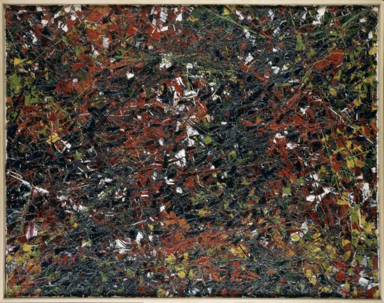 United States of Abstraction. Artistes américains en France, 1946-1964 : Jean-Paul Riopelle, Sans titre (1953.026H.1953), 1953, huile sur toile, 114 x 145 cm, Rennes, Musée des Beaux-Arts, © ADAGP, Paris, 2020, photo : © MBA, Rennes, Dist.- RMN-Grand Palais/Louis Deschamps