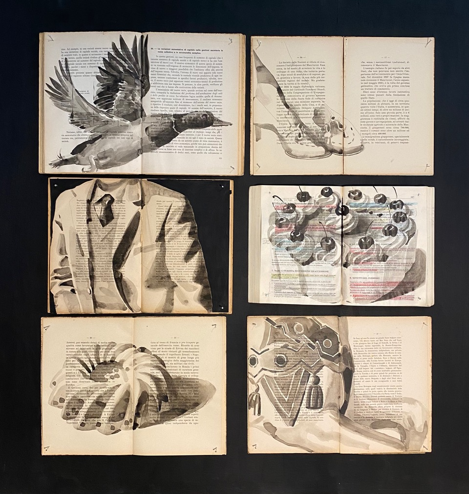 François Réau, Corine Borgnet et Ekaterina Panikanova. Vanitas of Metamodern. : Ekaterina Panikanova, Box 266 B, Nailed Books, wood, ink, 87 x 89 cm, 2021