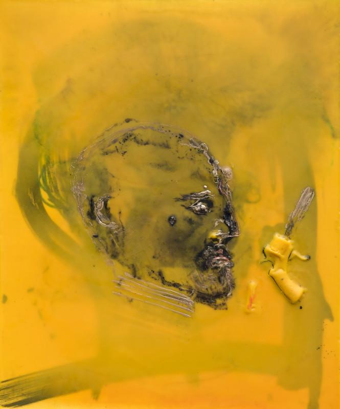 Valota. Vincent got a Gun : VALOTA. V got a gun IV. 2018, cire et pigments sur toile, 73 x 60 cm.