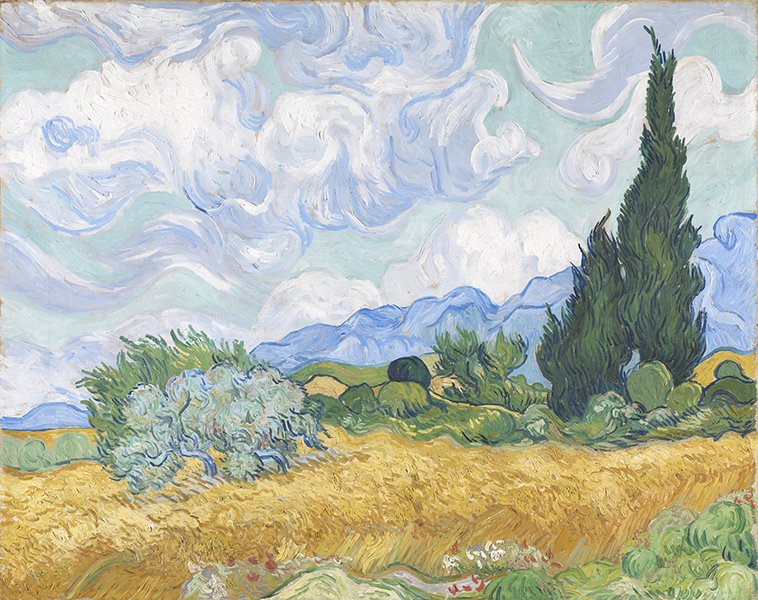 La Collection Courtauld. Le parti de l'Impressionnisme : Vincent van Gogh. Champ de blé avec des cyprès, 1889. Huile sur toile 72,1 x 90,9 cm © The National Gallery, London