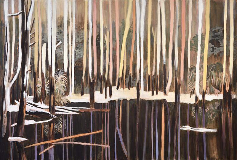 Sans fin ni milieu : anessa Fanuele - Perdus, pourtant, 2016. Huile sur toile, 200 x 300 cm.