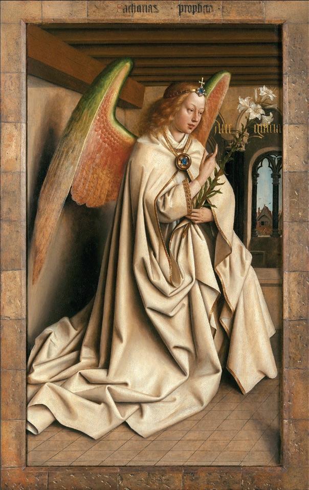 Van Eyck. Une révolution optique : Jan et Hubert Van Eyck. L'Adoration de l'Agneau mystique (l'Ange Gabriel, scène de L'Annonciation, retable fermé). 1432, huile sur panneau. Cathédrale Saint-Bavon, Gand.