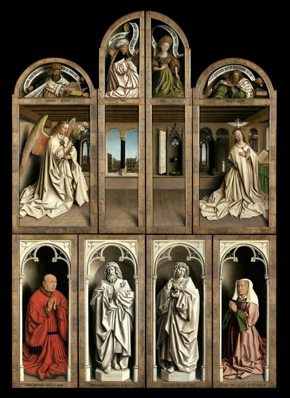 Van Eyck. Une révolution optique : Jan et Hubert Van Eyck. L'Adoration de l'Agneau mystique (retable fermé). 1432, huile sur panneau, polyptique, 375 X 260 cm. Cathédrale Saint-Bavon, Gand.