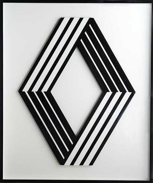 Vasarely, art et industrie : Logo Renault Noir-Blanc. 1972, acier thermolaqué, 200 x 160 x 4 cm. Collection particulière © Fabrice Lepeltier